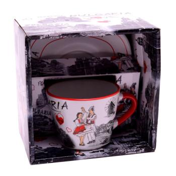 Сувенирна керамична чаша с чинийка, декорирани със забележителности от Варна, Созопол и Несебър