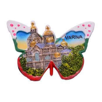 Сувенирна релефна фигурка с магнит във формата на пеперуда