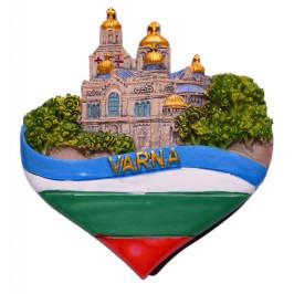 Релефна магнитна фигурка във формата на сърце, декорирано с Варненската катедрала