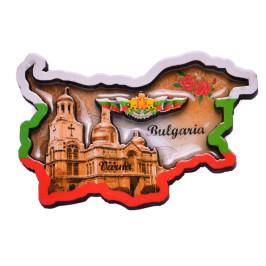 Релефна фигурка с магнит във формата на карта на България, декорирана с Варненската катедрала