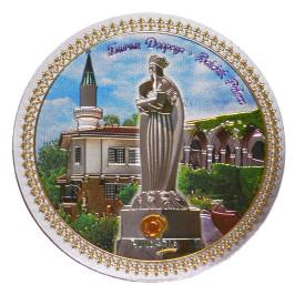 Кръгла магнитна фигурка - двореца в Балчик и статуя