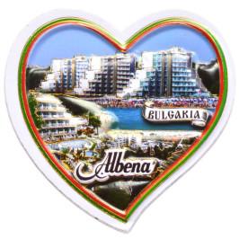 Магнитна фигурка във формата на сърце - изглед на хотели от Албена