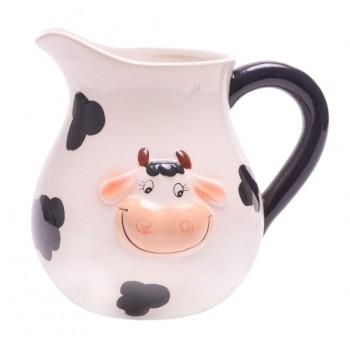 Забавна керамична каничка с релефна глава на крава