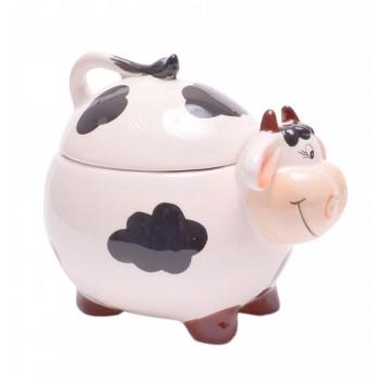 Забавна керамична купа с капак, във формата на крава