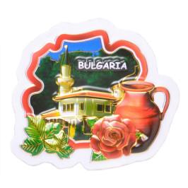 Сувенирна магнитна фигурка - цвете с изобразен на него двореца в Балчик
