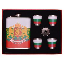 Сувенирна метална манерка с дозатор и четири декоративни чаши