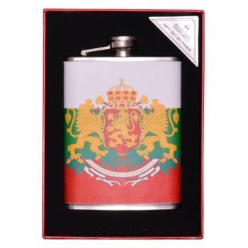 Сувенирна метална манерка , декорирана с еко кожа и принт - Българският герб