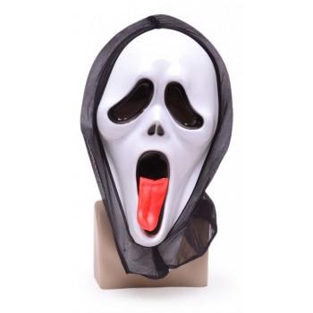 Карнавална маска - призрак с изплезен червен език