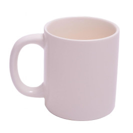 Забавна, бяла чаша вътре с вдигната пръст в неприличен жест