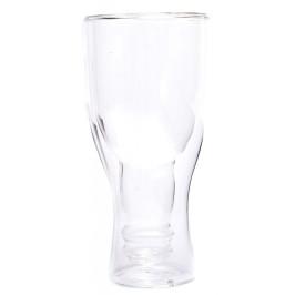 Забавна стъклена чаша с вградена обърната бутилка
