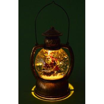 Декоративна, светеща фигурка - фенер с преспаие с Дядо Коледа