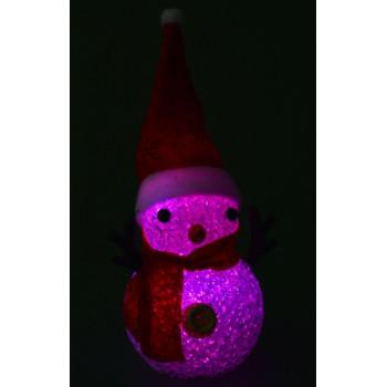 Декоративна, светеща фигурка - снежен човек с шапка и шал в червен цвят