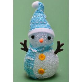 Декоративна, светеща фигурка - снежен човек с шапка и шал