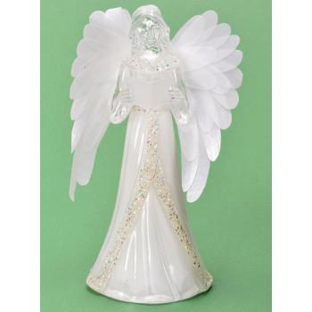 Декоративна, светеща фигурка - ангел с дълга рокля с брокат