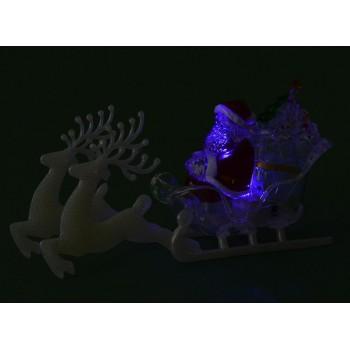 Декоративна, светеща фигурка - Дядо Коледа в шейна, дърпана от два елена