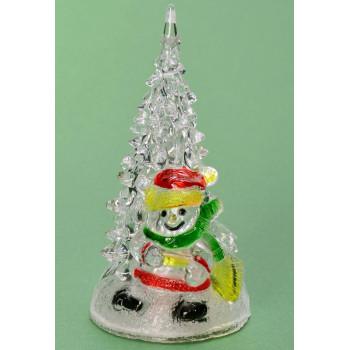 Декоративна, светеща фигурка - снежен човек до елха