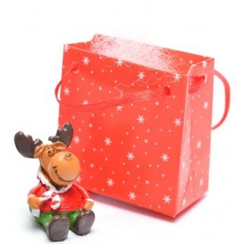 Декоративна, коледна фигурка в подаръчна торбичка, подходяща за тематична украса