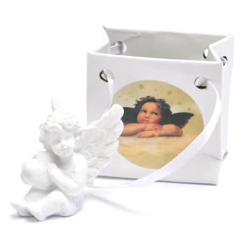 Декоративна фигурка - бяло ангелче в подаръчна торбичка