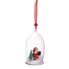 Декоративна, стъклена фигурка с Дядо Коледа, с възможност за окачване