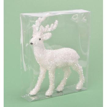 Декоративна фигурка - бяло еленче, подходяща за коледна украса