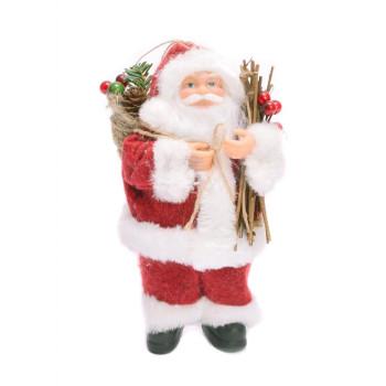 Декоративна фигура - Дядо Коледа с чувал, клонки и шишарки