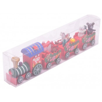 Дървена фигурка - шарен влак с вагони и коледни фигурки
