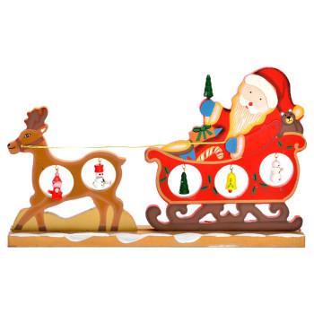 Сувенир от дърво - Дядо Коледа в шейна, дърпана от елен и с фигурки за окачване