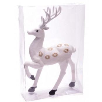 Декоративна фигура, подходяща за коледна украса - бял, блестящ елен