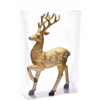 Декоративна фигура, подходяща за коледна украса - златист, блестящ елен