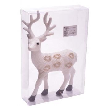 Декоративна фигура, подходяща за коледна украса - бял елен