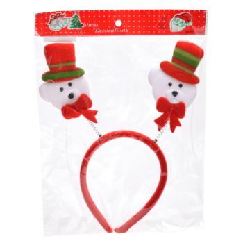 Коледна диадема с декоративни фигурки - мечета с шапки