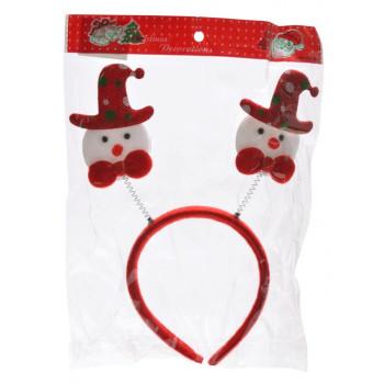Коледна диадема с декоративни фигурки - снежни човечета със шапки