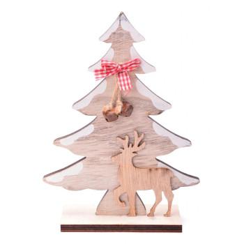 Декоративна фигурка за коледна украса - елхичка с две звънчета, панделка и еленче върху поставка