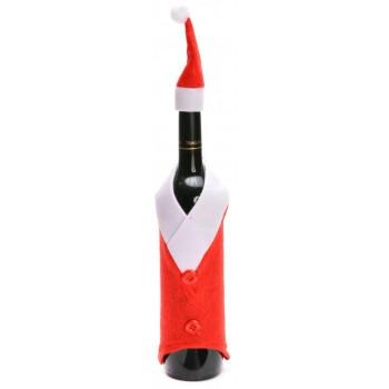Нестандартна, коледна декорация за бутилки - костюм с шапка в червено и бяло