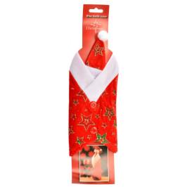 Нестандартна, коледна декорация за бутилки - костюм с шапка в червено и бяло, декориран със звезди