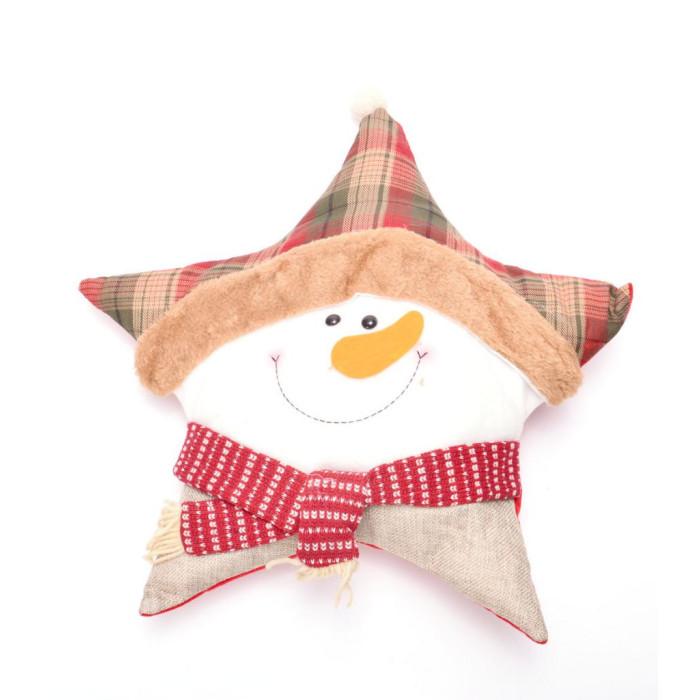 Коледна възглавничка, подходяща за декорация - снежен човек