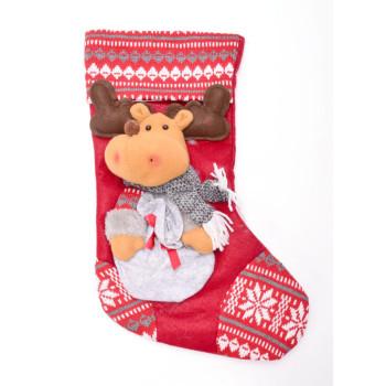 Декоративен коледен чорап, апликиран с коледни мотиви ръчно изработен