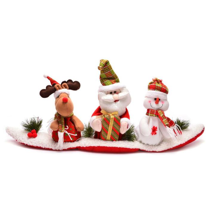 Танцуващи и пеещи коледни фигури - Дядо Коледа, снежен човек и елен върху килимче