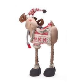 Декоративна фигура за коледна украса - елен с шапка и елече