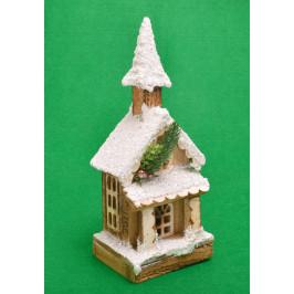 Красива светеща фигура - макет на заснежена къщичка