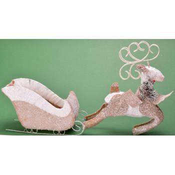 Декоративна фигура за коледна украса - елен, теглещ шейна