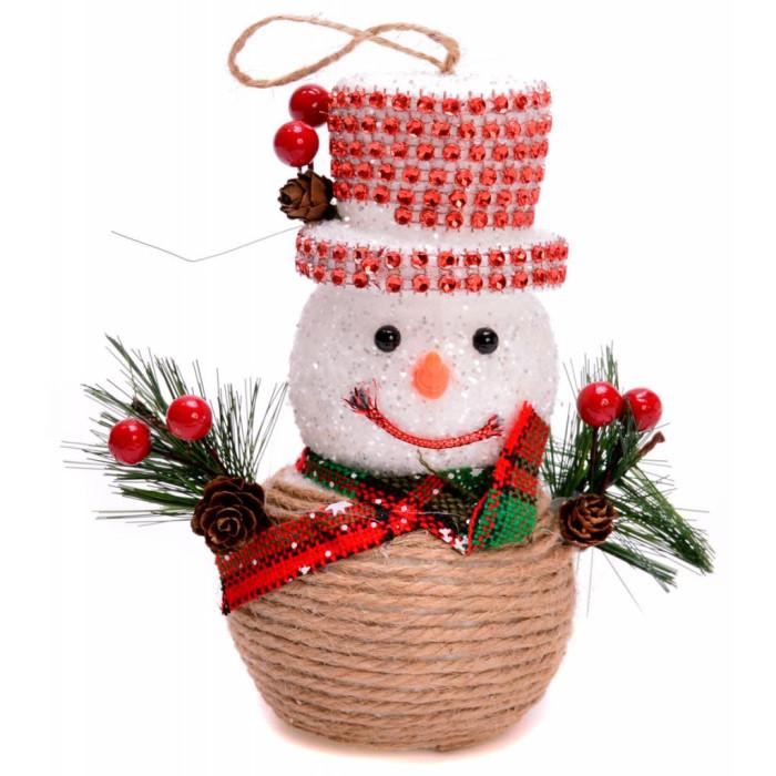 Декоративна фигурка - снежен човек с шапка и клонки
