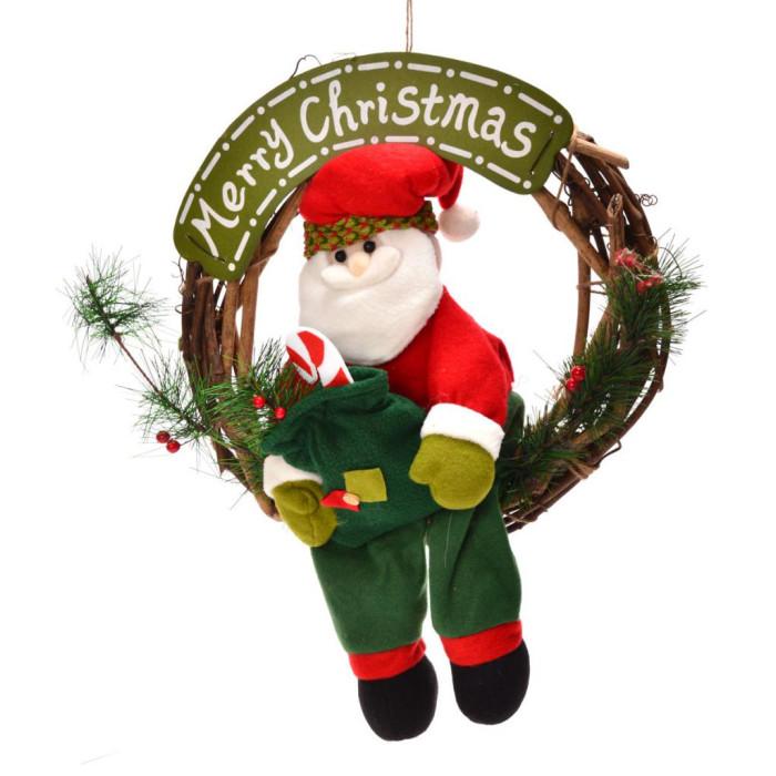 Красив коледен венец от дърво, с фигурка на Дядо Коледа и табелка