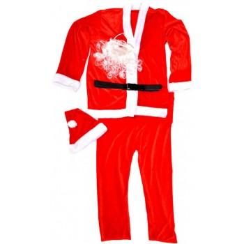 Коледен костюм за възрастен човек от полар в бяло и червено