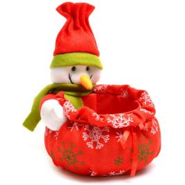 Коледна кошничка със снежен човек, подходяща за тематична декорация