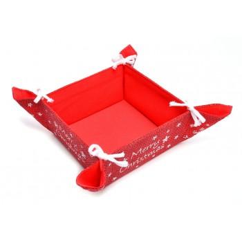 Декоративно коледно панерче в червен цвят, с надпис Merry Christmas