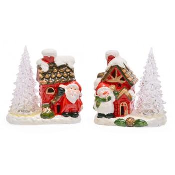 Декоративна светеща фигурка - къщичка с елха и Дядо Коледа или снежен човек