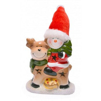 Декоративна фигурка - елен с Дядо Коледа или снежен човек