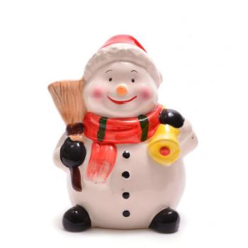 Декоративна, керамична фигурка - касичка, снежен човек с метла