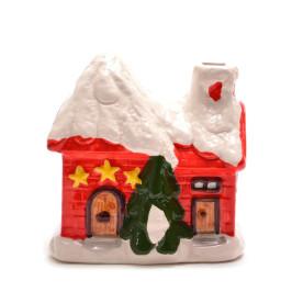 Декоративна, керамична фигурка - касичка, коледна къщичка с елхичка